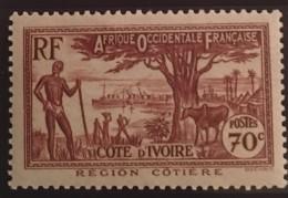 Ivory Coast  - MH*  - 1936 - 1944  - #  155 - Unused Stamps