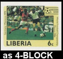 LIBERIA 1985 Football World Cup Mexico 6c IMPERF.4-BLOCK Germany Morocco [non Dentelé] - World Cup