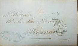 O) 1863 CUBA-CARIBE, PREPHILATELY, BRITISH POST OFFICE IN HAVANA, MARITIME MAIL WITH A PAID AT HAVANA BRITISH CROWN CIRC - Cuba