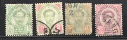 1887-91  Roi  4 Valeurs Oblitérés - Thaïlande