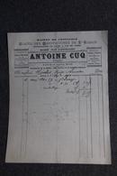 Facture Ancienne - BEZIERS, Antoine CUQ , Glaces Des Manufactures De ST GOBAIN - France