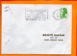 PARIS, Paris 20 Gambetta, Flamme à Texte, Le 3e Millénaire C'est L'Europe, Le 18 Juin 1989 Votez! - Marcophilie (Lettres)