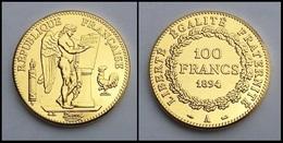 COPIE - 1 Pièce Plaquée OR ( GOLD Plated Coin ) - France - REPRODUCTION 100 Francs Génie 1894 A - France