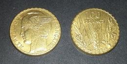 COPIE - 1 Pièce Plaquée OR Sous Capsule ! ( GOLD Plated Coin ) - REPRODUCTION 100 Francs BAZOR 1929 - France
