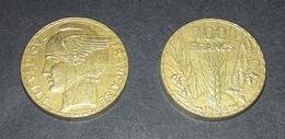 COPIE - 1 Pièce Plaquée OR Sous Capsule ! ( GOLD Plated Coin ) - REPRODUCTION 100 Francs BAZOR 1934 - France
