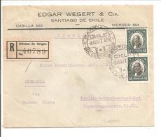 Certificado-Registered-Recommandé.Santiago>Deutschland Berlin Reinickendorf 1927 - Chile