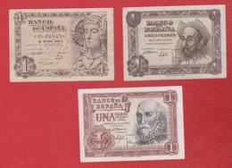 Espagne  / Lot De 3 Billets De 1 Peseta - Spain