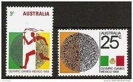AUSTRALIA 1968 - OLYMPICS Summergames Mexico - SALE! 2v Mi 406-407 MNH ** Cv€1,70 K035 - 1966-79 Elizabeth II