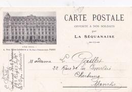 Carte Postale En Franchise Militaire La Séquanaise Offerte à Nos Soldats - Envoi De Gaillet Lieutenant Porte Drapeau - Autres