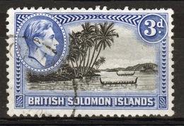 British Solomon Islands 1939 George VI 3d Black And Ultramarine Perf 12  Fine Used Stamp. - British Solomon Islands (...-1978)