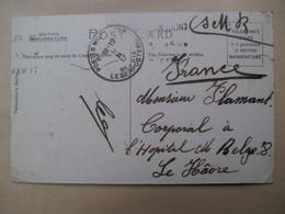 Legerpost    Uit 1 Wereldoorlog Naar  MON;  FLAMANT   Corpooral à L' Hospital  M.  BELGE   Le Hàvre - 1914-18