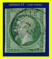 N° 12 NAPOLÉON SECOND EMPIRE 1854 - OBLITÉRÉ ST / B - FILETS TOUCHÉS - - 1853-1860 Napoléon III.