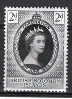 British Solomon Islands 1953 Queen Elizabeth Coronation Mounted Mint Stamp. - British Solomon Islands (...-1978)