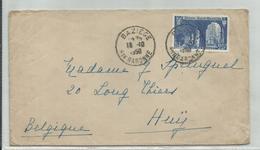 FRANCE - TIMBRE SUR ENVELOPPE CAD BAZIEGE DU 16/10/1950 POUR HUY BELGIQUE - France