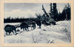 CPSM Canada Alaska Esquimau Circulé Types Attelage De Chiens - Northwest Territories