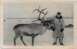 CPSM Canada Alaska Esquimau écrite Types Renne - Northwest Territories