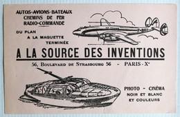 Buvard Avion Air France A La Source Des Inventions Magasin Modelisme Maquette Modèles Réduits 56 Bd De Strasbourg Paris - Buvards, Protège-cahiers Illustrés