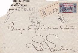 Grand Liban : Nr 121 ( 14 € )   Recommandé Van Beiroet Naar La Louviere . Toestand : Zie Scan - Liban