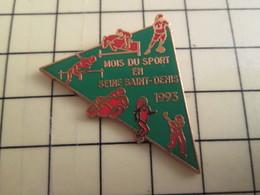 Pin513a Pin's Pins / Rare Et De Belle Qualité / SPORTS : MOIS DU SPORT SEINE ST DENIS 1993 PETANQUE MOTO FOOT EQUITATION - Bowls - Pétanque