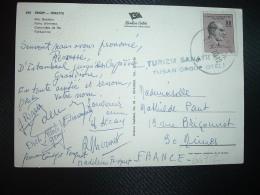 CP Pour La FRANCE TP ATATURK 90 K OBL.27 IV 70 + Griffe TURISM SANAYHAS TUSAN ORGUP OTELI - 1921-... Republic