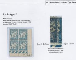 Coin Daté Taxe 5 Cts Bleu Type 2 - 1937 - 1859-1955 Neufs