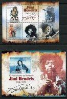 Guinea Bissau, 2010, Jimi Hendrix, Rock, Music, Musician, Guitar Hero, MNH, Michel 4702-4706, Block 786 - Guinée-Bissau