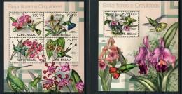 Guinea Bissau, 2012, Hummingbirds, Birds, Animals, Orchids, Fauna, Flora, MNH, Michel 6022-6025, Block 1067 - Guinée-Bissau