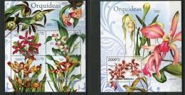 Guinea Bissau, 2012, Orchids, Flowers, Flora, MNH, Michel 6052-6055, Block 1073 - Guinea-Bissau