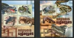Guinea Bissau, 2012, Reptiles, Crocodiles, Iguana, Turtle, Anaconda, Snake, MNH, Michel 5997-6000, Block 1062 - Guinea-Bissau