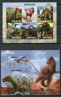 Guinea Bissau, 2010, Dinosaurs, Prehistoric Animals, MNH, Michel 4593-4597, Block 747 - Guinea-Bissau