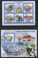 Guinea Bissau, 2009, Fish, Water Plants, Flora, Fauna, MNH, Michel 4291-4295, Block 702 - Guinea-Bissau