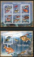 Guinea Bissau, 2009, Tropical Fish, Animals, Fauna, MNH, Michel 4468-4472, Block 729 - Guinée-Bissau