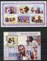 Guinea Bissau, 2008, African Musicians, Music, Singers, MNH, Michel 3979-3984, Block 678 - Guinea-Bissau