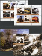 Guinea Bissau, 2004, Locomotives, Trains, Railways, Railroads, Transport, MNH, Michel 2741-2752, Block 460-461 - Guinée-Bissau