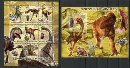 Guinea Bissau, 2005, Dinosaurs, Gems, Minerals, MNH, Michel 3290-3295, Block 547 - Guinée-Bissau
