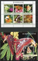 Guinea Bissau, 2003, Butterflies, Flowers, Insects, Animals, Flora, Fauna, Scouting, MNH, Michel 2482-2487, Block 429 - Guinea-Bissau
