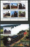 Guinea Bissau, 2003, Steam Locomotives, Trains, Railways, Railroads, MNH, Michel 2510-2515, Block 433 - Guinea-Bissau