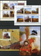 Guinea Bissau, 2003, Locomotives, Trains, Railways, Railroads, MNH, Michel 2644-2655, Block 447-448 - Guinea-Bissau