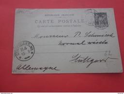 Timbre Type Sage 1896-P12  Entiers Postaux De Paris 16--- Carte Postale 1901-pour Stuttgart DR - Entiers Postaux