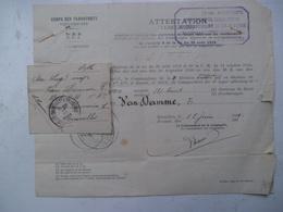 Corps DES TRANSPORTS  A    VAN  DAMME  E.     ATTESTATION  1921 - 1939-45