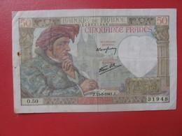- Billet CINQUANTE CENTS 50 FRANCS JACQUES COEUR 13-3 1941 - 1871-1952 Circulated During XXth