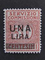 """ITALIA Regno Servizio Commissioni-1925- """"Cifra Sopr."""" £. 1 Su 30 MNH** (descrizione) - 1900-44 Victor Emmanuel III."""