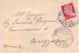 S. Agata Dei Goti. 1929. Annullo Frazionario ( 9 - 89 ), Su Piccola Lettera. Al Verso Durazzano ( 9 - 29). - 1900-44 Victor Emmanuel III
