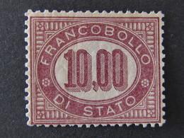 """ITALIA Regno Servizio Di Stato-1875- """"Cifra"""" £. 10 MLH* (descrizione) - Service"""