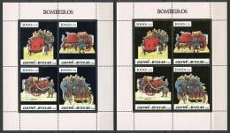 Guinea Bissau, 2005, Fire Fighters, Fire Brigade, MNH Silver And Gold Sheets, Michel 2956-2963 - Guinée-Bissau