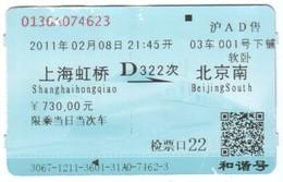 TICKET De TRAIN SHANGHAI à PEKIN - TRES BON ETAT - Monde