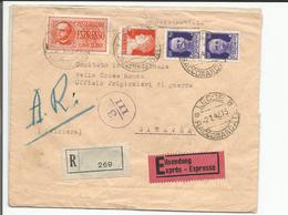 Italie, Lettre Recommandée Exprès Censure, Lecce - Croix Rouge Genève + Cachets (2.1.1942) - 1900-44 Victor Emmanuel III