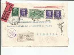 Italie, Lettre Recommandée Exprès Censure, S. Giovanni - Croix Rouge Genève + Cachets (16.12.1941) - Storia Postale
