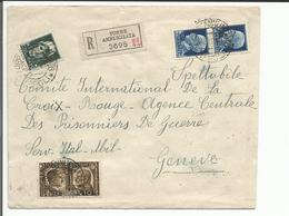Italie, Lettre Recommandée Censure, Torre Annunziata - Croix Rouge Genève + Cachets (22.12.1941) - Poststempel