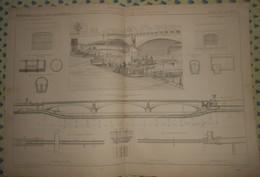 Plan Du Siphon Du Pont De L'Alma à Paris. 1869 - Public Works